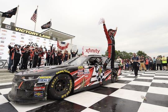 Jeremy Clements celebrates in victory lane after winning the 2017 Johnsonville 180 at Road America for his first  NASCAR Xfinity Series victory.