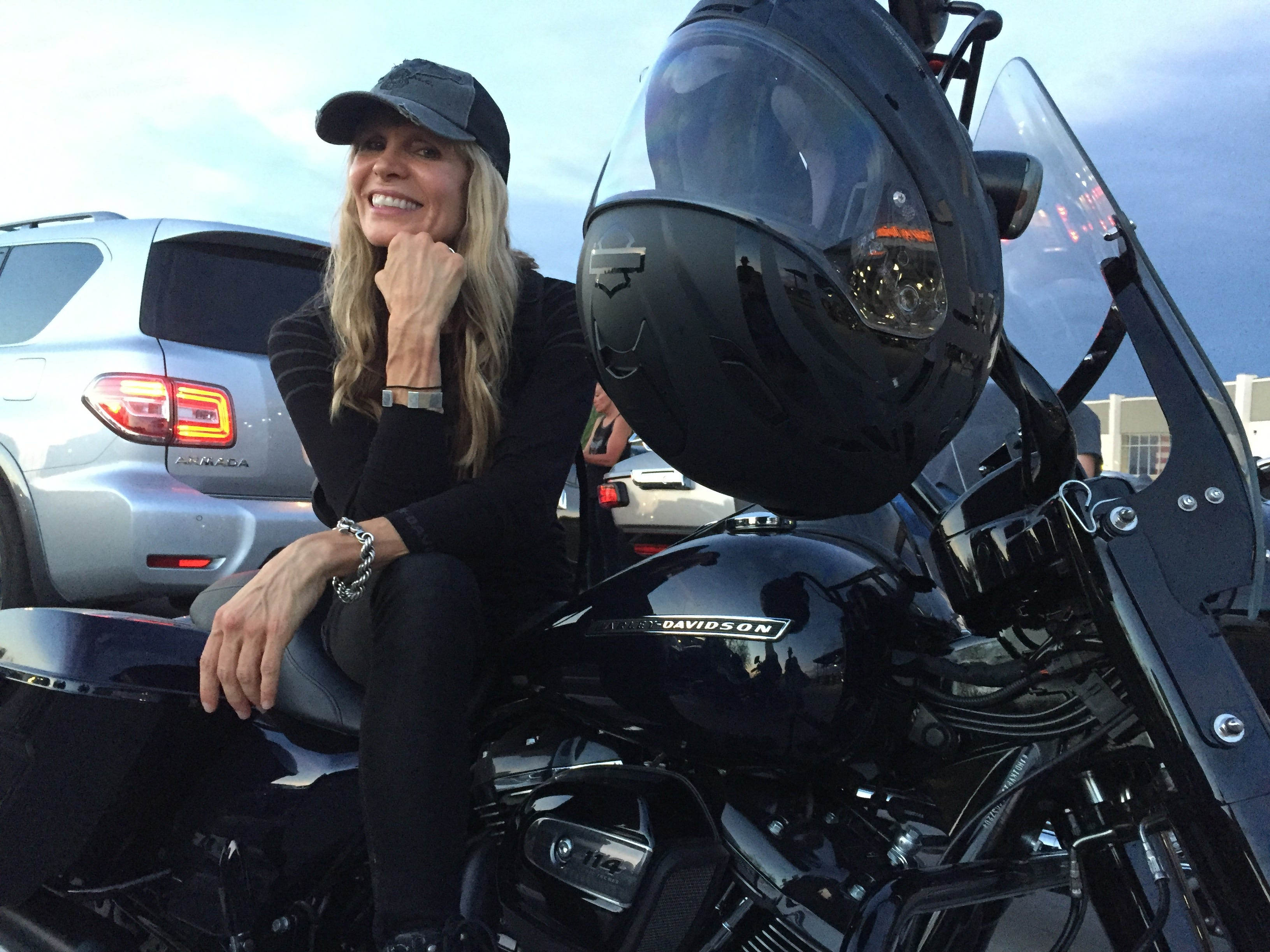 "Karen Davidson, great-granddaughter of Harley-Davidson co-founder William A. Davidson and creative director of Harley-Davidson MotorClothes, arrived in Scottsdale, Arizona, around 7 p.m. Aug. 21 on her new 2019 Road King. It had ""zero miles"" when she picked it up in San Diego, she said. Davidson and her brother, Bill, are participating in the nine-day Harley-Davidson 115th anniversary ride from San Diego to Milwaukee. Next stop: Gallup, N.M."