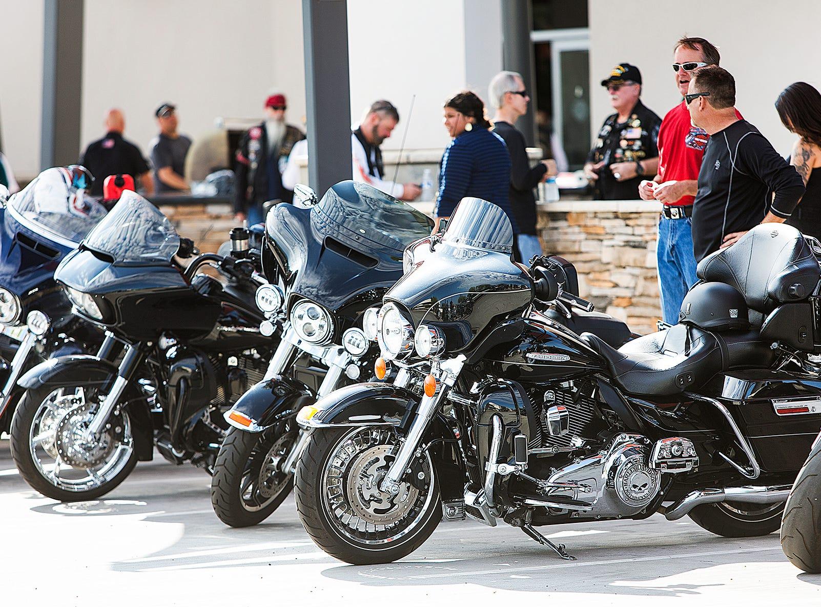 Riders gather outside the Harley-Davidson dealership in Scottsdale, Arizona, Aug. 22.