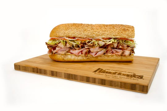 """Primo Hoagies """"Big T Diablo"""" (Home Style Turkey Breast, Imported Ham and American Cheese)."""