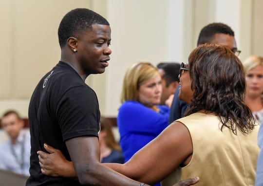 James Shaw Jr. greets Waffle House shooting victims' family members on Aug. 22 in Nashville.