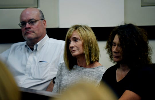 Judy Reinking, mother of Waffle House shooting suspect Travis Reinking, sits with family members in the hearing on her son's mental health in criminal court on Aug. 22 in Nashville.