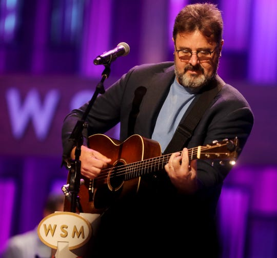 Vince Gill performs at the Grand Ole Opry on Aug. 21, 2018.