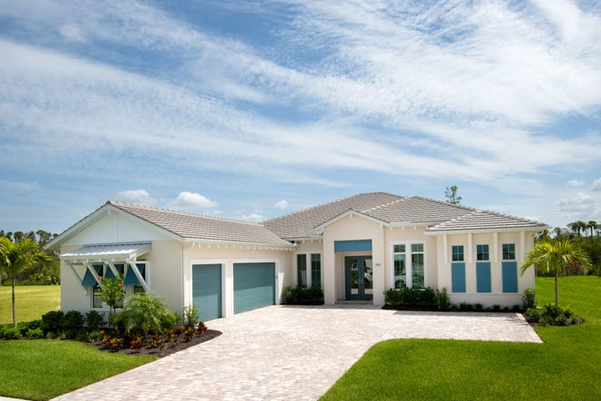The 3,171-square-foot Aragon Caribbean move-in ready home is available at Azure at Hacienda Lakes.
