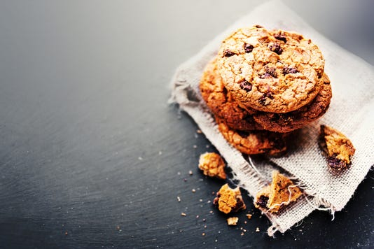 Chocolate Chip Cookies On Dark With Place For Text Freshly Baked Selective Focus With Copy Space Rustic Styled Image Heap Of Tasty Cookies N