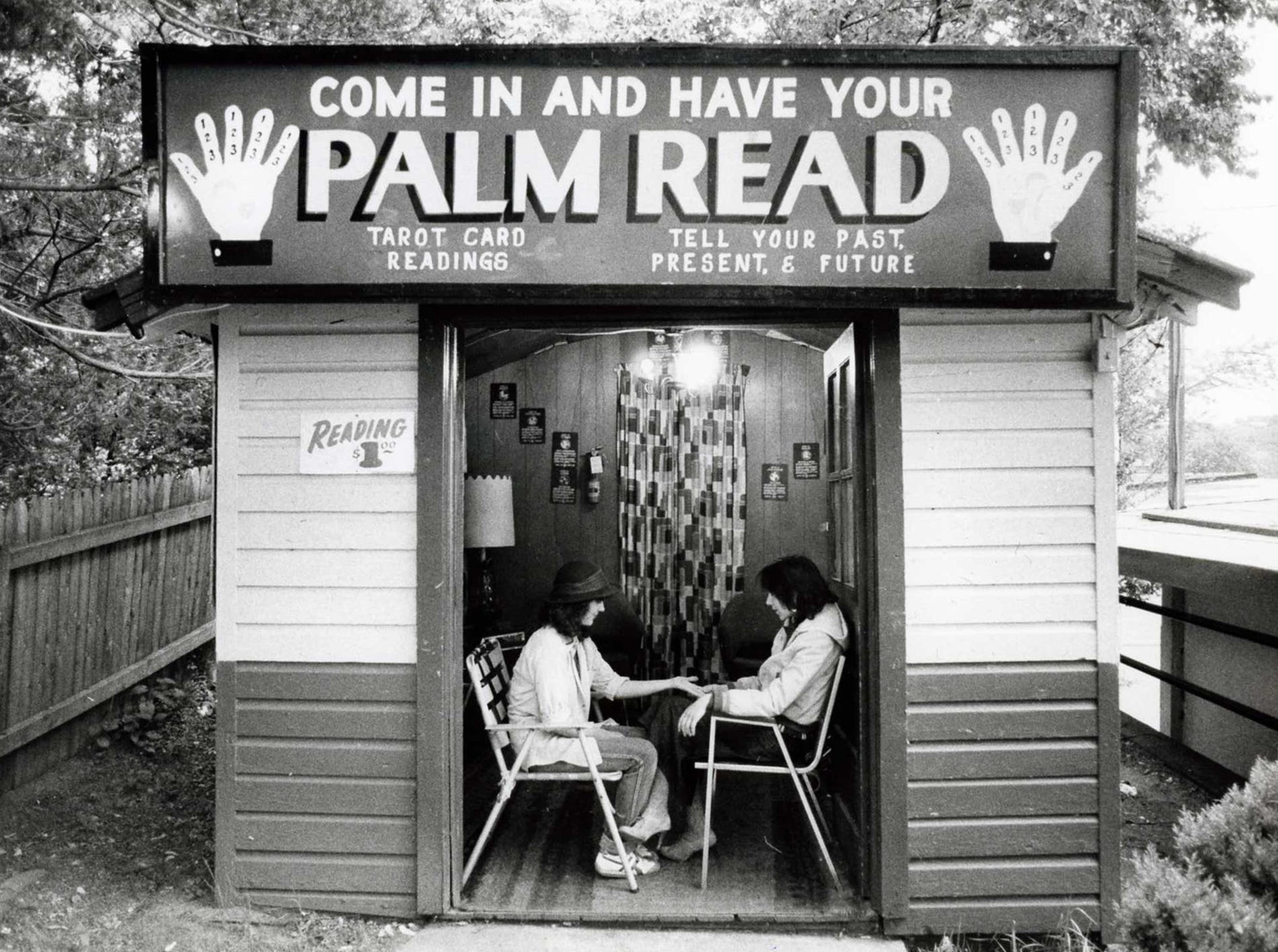 Bertrand Island Amusement Park - Lake Hopatcong 5/22/82 Shirley Kaslov reading palms at her stand.