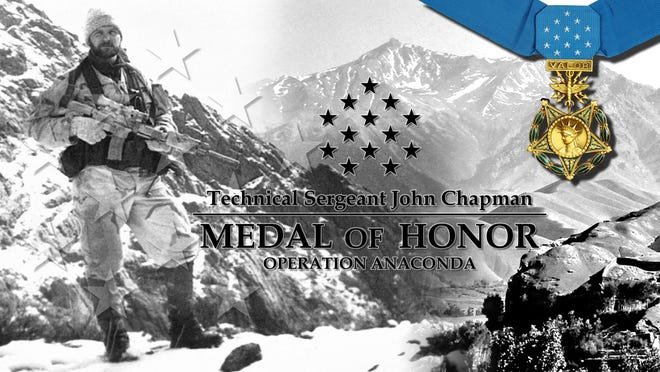 """Technical Sgt. John A. Chapman, a Special Tactics Combat Controller, will be posthumously awarded the Medal of Honor for his extraordinary heroism in March 2002 while deployed in Afghanistan. His family will accept the Medal of Honor during a ceremony, August 22. Sergeant John Chapman distinguished himself on the battlefield through """"conspicuous gallantry and intrepidity,"""" sacrificing his life to preserve those of his teammates. Chapman was part of a joint special operations reconnaissance team that came under overwhelming enemy fire during a heroic rescue attempt on Takur Ghar mountain, Afghanistan, on March 4, 2002."""