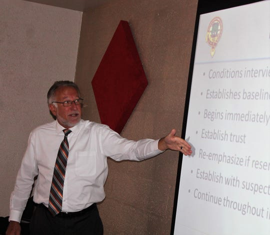 Advanced Investigative Interviewing class instructor Mark A. Anderson teaches local first responders in a class at the Willie Estrada Civic Center Wednesday.