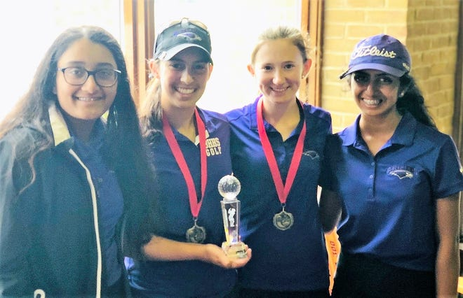 Bloomfield Hills won the season-opening golf tournament at Huron Meadows led by (left to right) Sanju Swamy, Mikaela Schulz, Lizzie Pierce and Esha Varchasvi. Cassidy Proctor is missing from the photo.