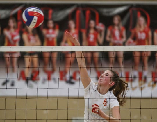 Jacqueline Wahl hits the ball during Palm Desert's win over Tahquitz, August 21, 2018