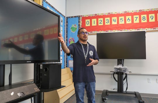 Kindergarten teacher Matthew Eisler talks about incorporating the new technology into his classroom at Richard Oliphant Elementary School in Indio, August 21, 2018.