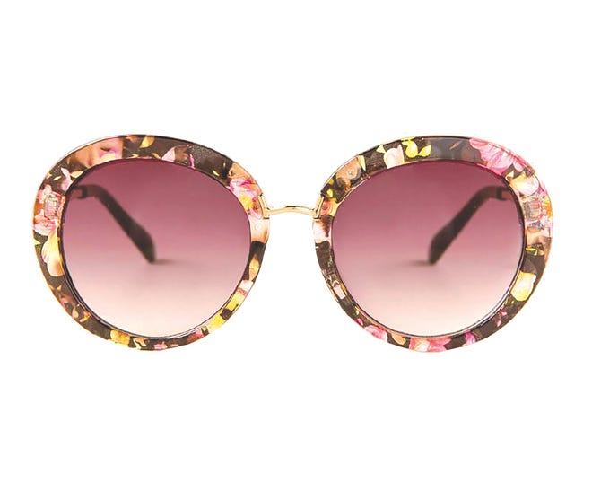 """""""Janine"""" floral sunglasses, $14, Francesca's."""