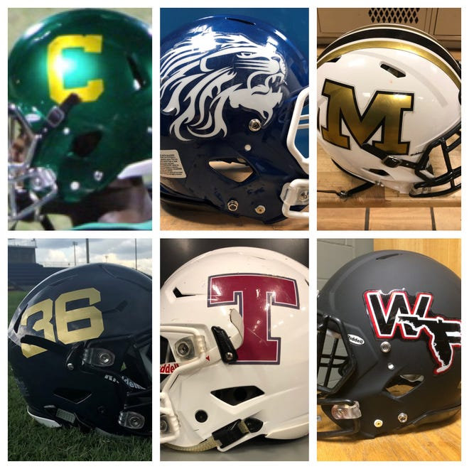 The final six helmets in the PNJ Helmet Wars Battle Royale are (top row, l-r) Catholic, Jay, Milton and (bottom row, l-r) Gulf Breeze, Tate, West Florida