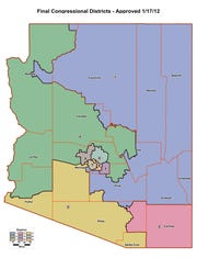 Arizona's nine congressional districts since 2012 are depicted above.