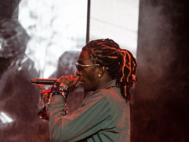 Young Thug performs at Talking Stick Resort Arena on Tuesday, Aug. 21, 2018 in Phoenix.