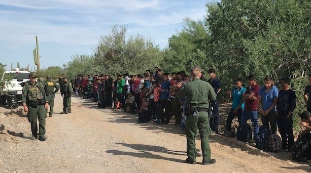 Border Patrol agents stationed in Ajo apprehended 128 Central American migrants on Friday, west of Lukeville.