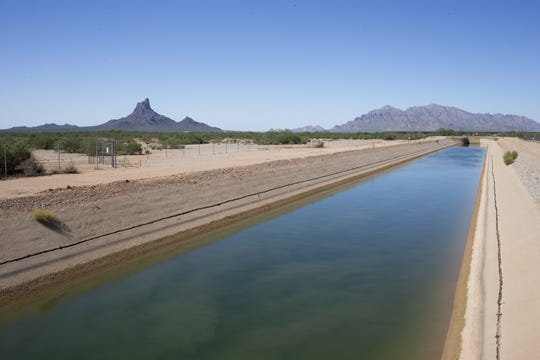 The Central Arizona Project Canal flows through Pinal County, near Picacho Peak.