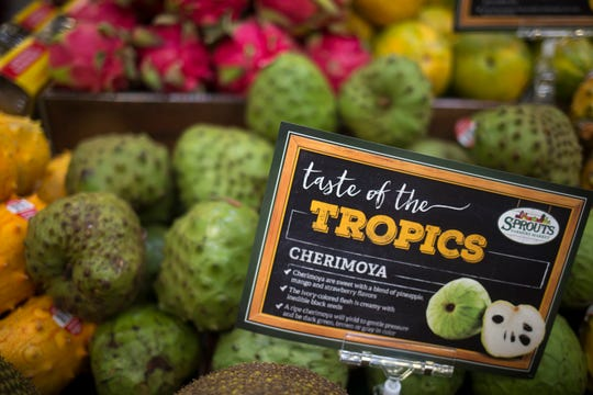 Taste of the Tropics display is seen Aug. 22, 2018, at the Sprouts Farmer's Market at Seventh Avenue and Osborn Road in Phoenix.