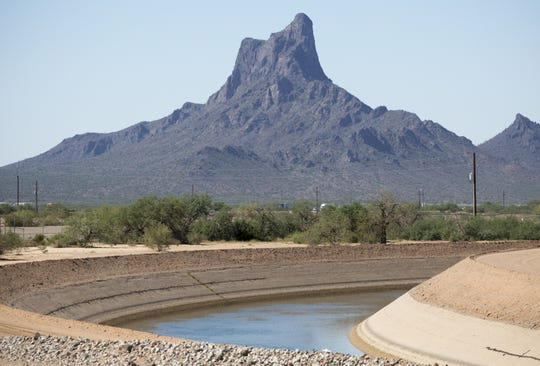 The Central Arizona Project canal flows through Pinal County near Picacho Peak.