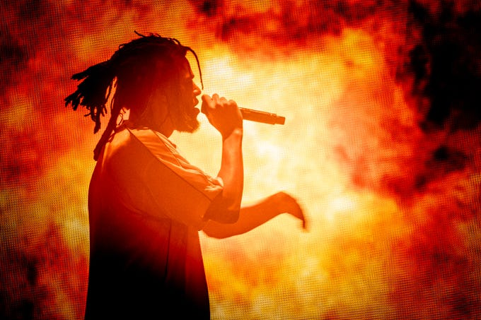 J. Cole performs at Talking Stick Resort Arena on Tuesday, Aug. 21, 2018 in Phoenix.
