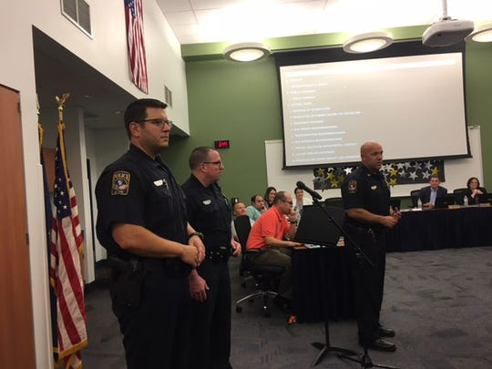 West Manchester Township Police Chief John Snyder introduces West York Area School District's new SROs, Officers Joshua Sefchick (left) and Brian Schlemmer (right.)