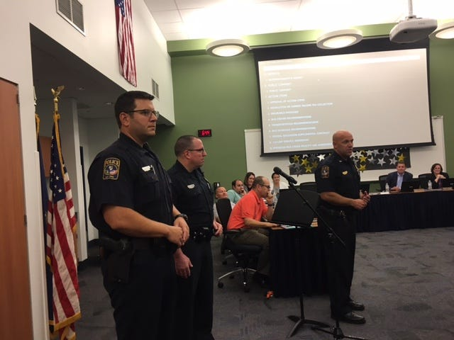 West Manchester Township Police Chief John Snyder introduces West York Area School District's new SROs, Officers  Joshua Sebchick (left) and Brian Schlemmer (right.)