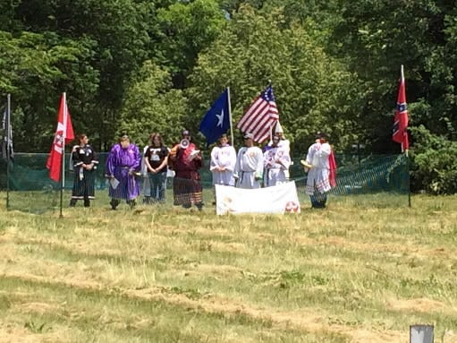 Traditional Rebel Knights vice president Albert Fike delivers a speech during a rally held at the Gettysburg battlefield. Fike invited people in the crowd to join his Klan organization.