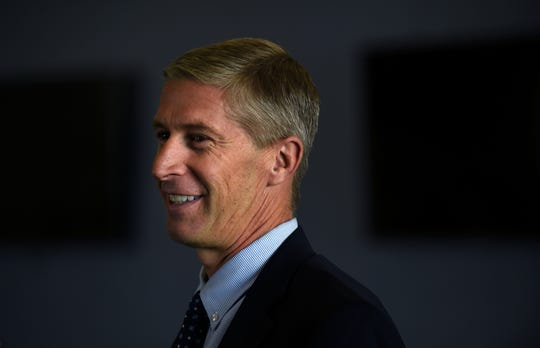 """Nevada's Director of Athletics Doug Knuth prepares to deliver his inaugural """"State of the Wolf Pack"""" address at the Basin Street Club at Mackay Stadium on Tuesday."""