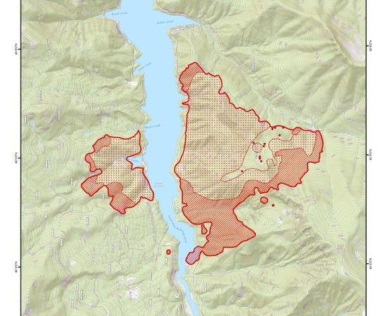 A map showing the Terwilliger Fire burning at Cougar Reservoir east of Eugene.