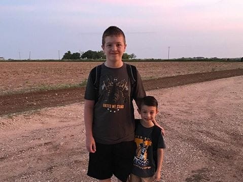 Ethan and Lukas Collier head back to school Aug. 22, 2018.
