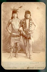 Black Elk, left, and Elk of the Oglala Lakota as grass dancers touring with the Buffalo Bill Wild West Show, in London, in 1887.