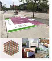 "The Living Room Project will be located at the intersection of the N. 8th Street and Wisconsin Avenue. The project is being completed in partnership with Active8 and will consist of a painted ""living room carpet"" by a local artist on the concrete and living room style furniture either constructed from wood and/or concrete by Quasius Construction."