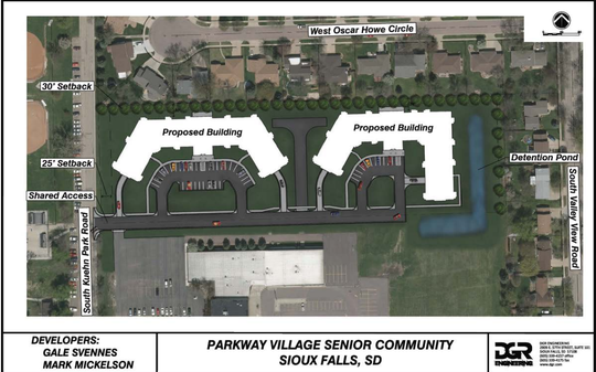 Plans for the proposed Parkway Village Senior Community, made up of two three-story buildings with 96 units total.
