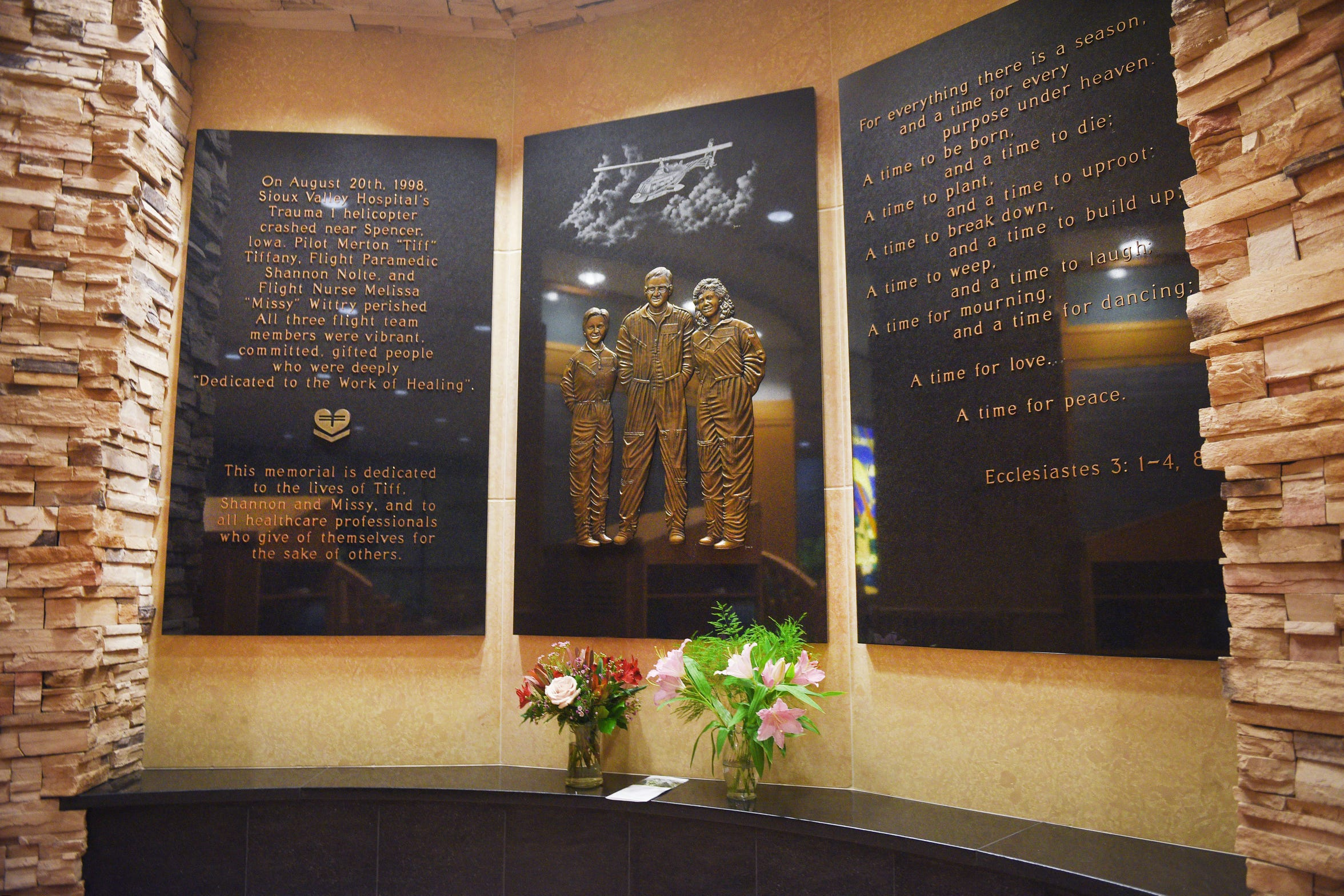 The Sanford Memorial Garden in Sioux Falls is dedicated to the three crew members who were killed in a 1998 helicopter ambulance crash.