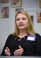 Kimberly Notsch describes Monday, Aug. 20, how she and other On Scene advocates at Anna Marie's Alliance go wherever a law enforcement officer responds to a domestic abuse incident once the scene is secure.