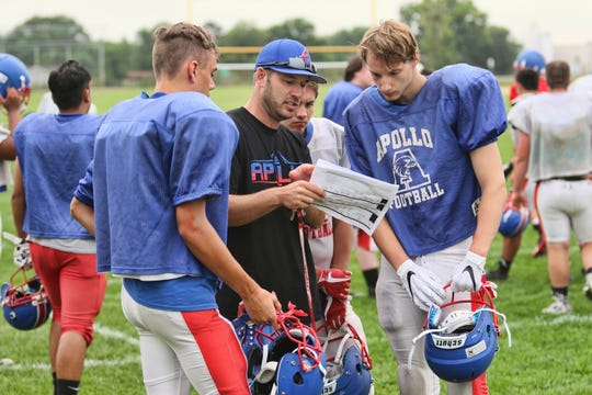 Assistant coach Adam Savolainen reviews assignments with Thomas Otto, Micah Johnson and Carter Pullman during during practice Thursday, Aug. 16, at Apollo High School in St. Cloud.