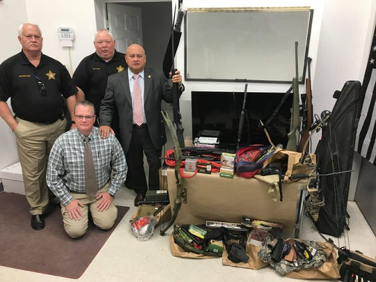 Wakulla County Sheriff's deputies found multiple firearms, an expensive pair of shoes, a flat screen TV, two compound bows, ammunition, gun magazines and other items stolen in a Crawfordville burglary.