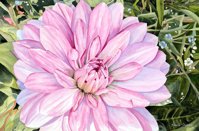 """""""Dahlia Shining"""" is Karol Selvaggio's second painting accepted Into Brush Strokes."""