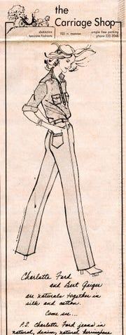 Karol Selvaggio fashion illustration from 1979 in the Tallahassee Democrat.
