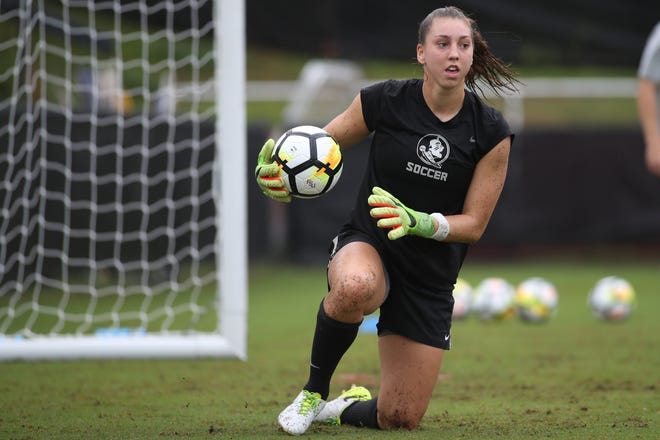 FSU goalkeeper Brooke Bollinger defends the net during team practice at the Seminole Soccer Complex Saturday, Aug. 5, 2017.