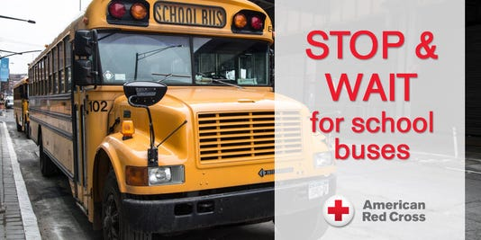 Red Cross Stop Wait For School Buses Safety Tip