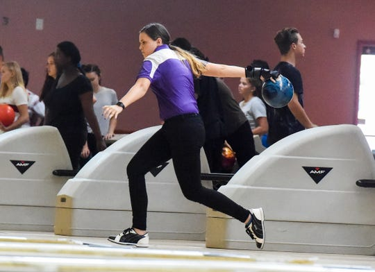 Okeechobee senior Mariah Spelts bowls her frame Wednesday, Aug. 22, 2018, during her team's high school bowling match against Lincoln Park Academy at Saint Lucie Lanes in Port St. Lucie. To see more photos, go to TCPalm.com.