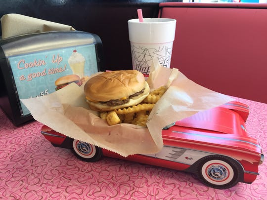 Kids meals at Hwy 55 include burgers, grilled cheese, hot dogs, and chicken tenders with the choice of a side item and a drink. Kids also can choose between a cardboard serving box shaped like a race car with stickers or a vanilla custard dessert.