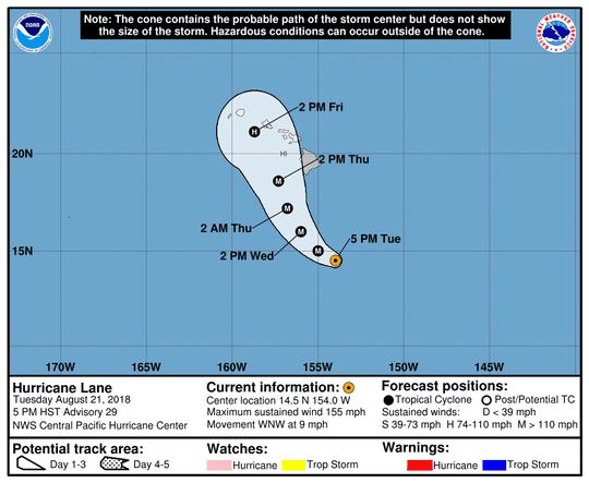 Projected path of Hurricane Lane as of 11 p.m. Tuesday, Aug. 21, 2018.