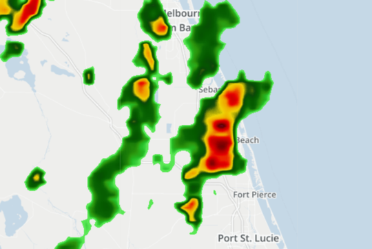 Doppler radar shows storms moving in to Indian River and St. Lucie counties about 3:30 p.m. Wednesday, Aug. 22, 2018.