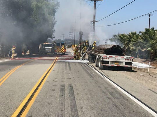 Portions of Highway 118 near Moorpark were closed late Wednesday morning after a semitrailer caught fire.
