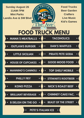 The list of food trucks expected to participate in Sunday's event on Landis Avenue in Vineland.