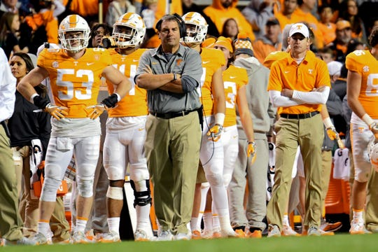 Tennessee Volunteers interim head coach Brady Hoke watches during the second half against the Vanderbilt Commodores at Neyland Stadium.