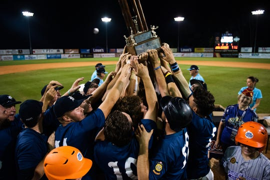 Delaware Post One wins the 2018 American Legion World Series championship with a walk-off run in the eighth inning at Veterans Field at Keeter Stadium in Shelby, N.C., on Tuesday, Aug. 21, 2018.