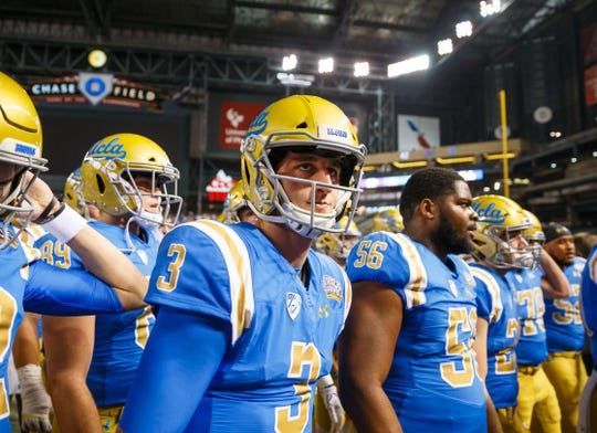 UCLA Bruins quarterback Josh Rosen (3) prior to the game against the Kansas State Wildcats in the 2017 Cactus Bowl at Chase Field.